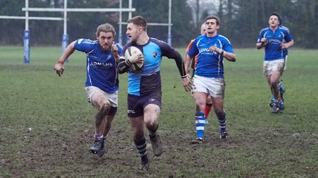 Luke Taylor heading for the line for Fakenham''s final try at Diss. Picture: Mike Wyatt