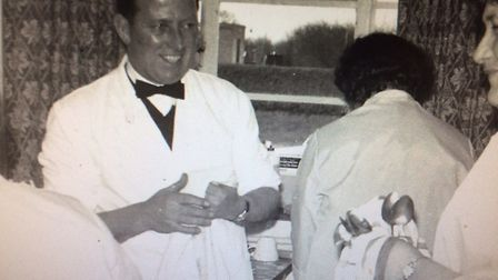 Charles Greves as the head waiter at a wedding reception - 1965. Picture: Supplied by Malcolm Greves