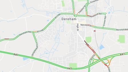 Traffic in Dereham caused delays for hundreds of drivers. Picture: GOOGLE