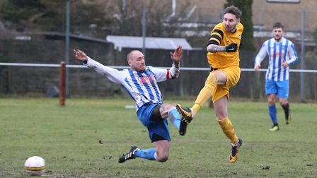 Action from Mattishall's 5-0 defeat at Waveney on Saturday. Picture: Steve Wood
