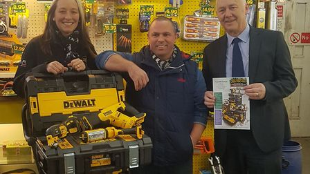From left are FTC Hire and Sales director Cindy Futter, competition winner Mark Frary and Toolbank s