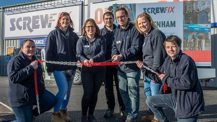Official opening of the new Screwfix store in Fakenham, Norfolk. From left: Kaylie Barrett, Emily Sm