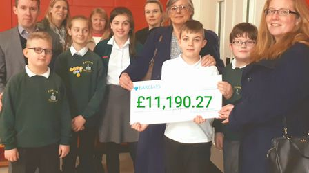 Cheque handed over to Fakenham Junior School council. Picture: Friends PTA