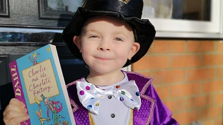Henry Button, aged 4, from Scarning, dressed as Willy Wonka on World Book Day 2019. Photo: Olly Butt