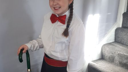 Elisha Coe, aged 8, from Scarning, as Mary Poppins on World Book Day 2019. Photo: Tammy Coe