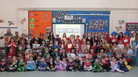 Children and staff at King's Park Infant School in Dereham on World Book Day 2019. Photo: King's Par