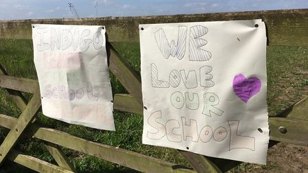 School childen from Sculthorpe designed their own posters to protest the proposals for a new school.
