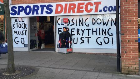 Sports Direct, in Dereham, will be closing its doors for the final time on Tuesday March 19. Picture