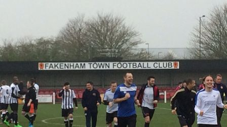Charity football game at Fakenham Town FC. Pictures: David Bale