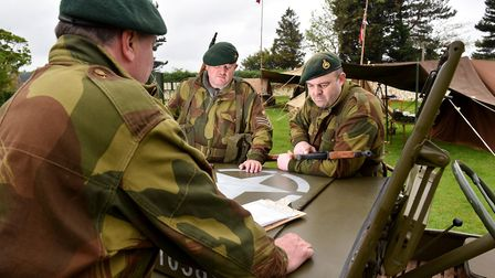 The 47 Royal Marines commando reenactment group at the 1940's wartime weekend in Burnham Deepdale.Pi