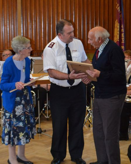 Musicians Margaret and Brian Lewis were presented with certificates. Picture: David Smith