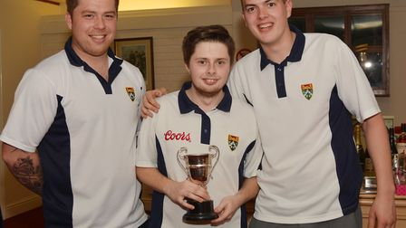 Men's triples champions - Sam King, Danny Cawthorne and Rhys Morgan. Picture: Peter Bird