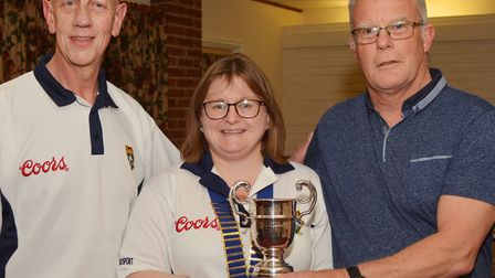 Men's pairs winners - David Taney (Taney) and Malcolm Starkey. Picture: Peter Bird