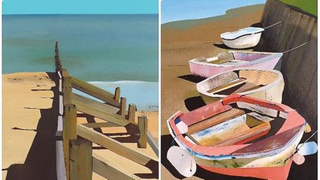 Artwork by Trevor Woods. The painting on the left shows sea defences at Mundesley and the painting o