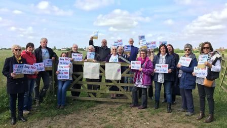 Campaigners gathered to greet the planning inspector on the final day of the inquiry. Picture: Steve