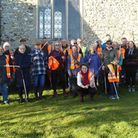 Some of the 60 volunteers who turned out to help with an annual litter pick in the two mid-Norfolk v