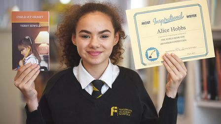 Fakenham Academy Year Eight student Alice Hobbs who wrote a story in the World Book Day 200 words co