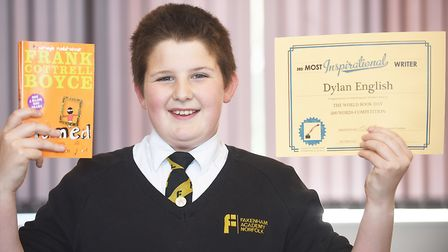 Fakenham Academy Year Seven student Dylan English who wrote a story in the World Book Day 200 words