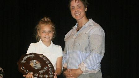 Sarah Outen presented Mia Starling with the outstanding contribution to school life award. Picture: