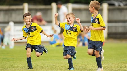 Action from the first day of the 5-a-side tournament held at Fakenham Town FC. Picture: Ian Burt