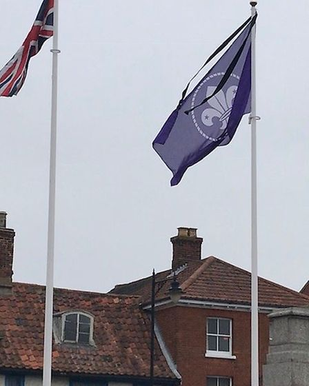 Dereham Town Council flew the Scouts flag in the town centre in memory of David Webster. Picture: De