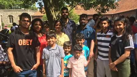 Rajasingam Sharveswaran, second from right, and his family were at the Tamil pilgrimage day in Walsi