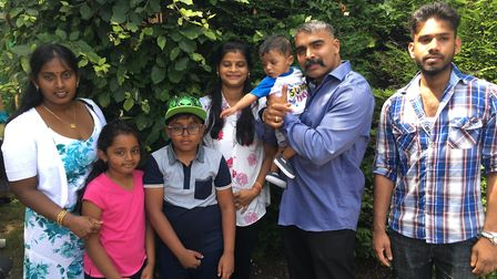 Tharma Shanmudampillai, second from right, and his family were at the Tamil pilgrimage day in Walsin