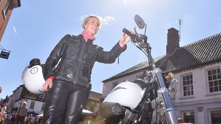 Carolyn Tester with her Harley Davidson at the rally in Fakenham.Picture: Nick Butcher