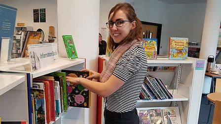 Karolina Kramarova, one of the students from the Czech Republic, in Dereham Library. Picture: Suppli