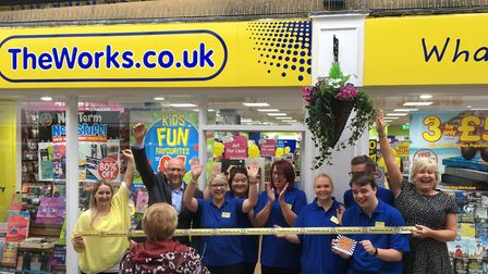 The staff celebrate at the opening of The Works in Fakenham. Picture: THE WORKS