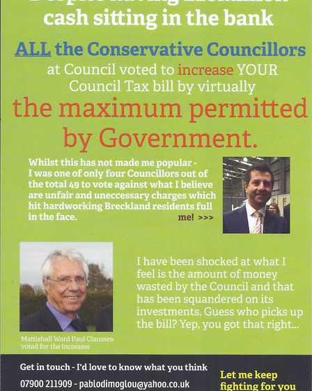 The leaflet also includes an image of Mattishall councillor Paul Claussen, and says: [He] voted for