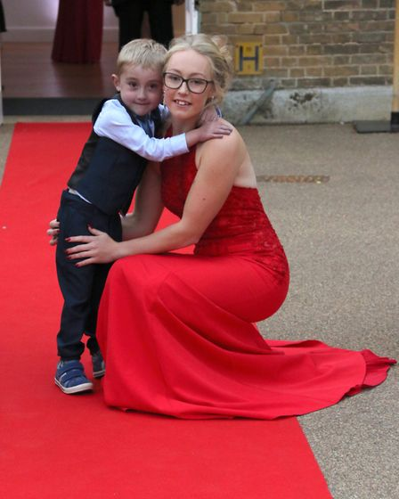 Kyra Welch and her son Kaiden Griffin at the gala dinner at the Holkham Estate. Picture: DISS EVENT