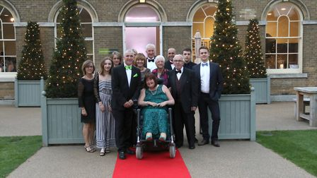Nick Loades with wife Elaine at the front and other family members at the gala dinner at the Holkham