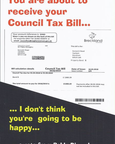 The leaflet features a image of Mr Dimoglous council tax bill and warns residents: I dont think your