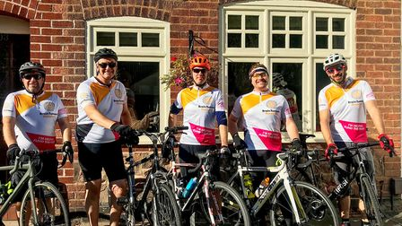 Members of the group who cycled to Wells to raise money for charity in memory of Corrine Smith, née