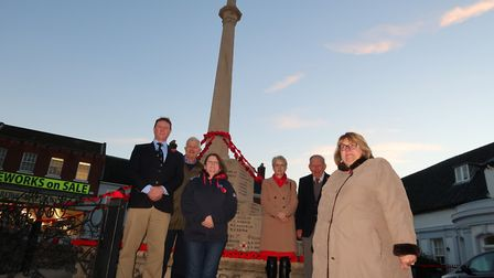 At the Fakeham War Memorial decorated with handcrafted poppies to mark a century since the Armistice
