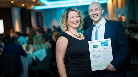 Jason Chapman and his wife Louise. Mr Chapman, from Neatherd High School in Dereham, was awarded an