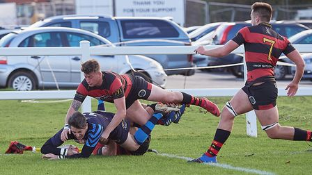 Fakenham''s only bright spot of the day, Tom Bane-Young scoring in the corner. Picture: MIKE WYATT