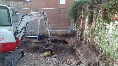 The site of the building work on East Quay. Photo: Elizabeth Hurcombe
