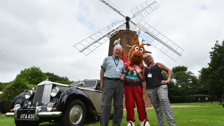Former chairman Brian and wife Alison Webb, former head of fundraising, with Biscuit the carnival ma
