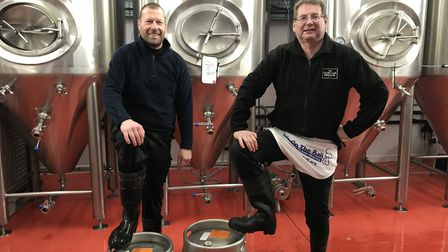 Head brewer, Bruce Ash (left) and Co-founder of the Norfolk Brewhouse, David Holliday (right) proudl