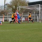 Fakenham's Matty Franks scores a late equaliser in the 3-3 draw with Cornard United at Clipbush Park