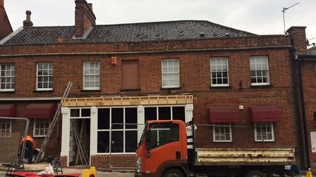 Work has only now started to repair the shop, following last April's ram-raid. Pictures: David Bale