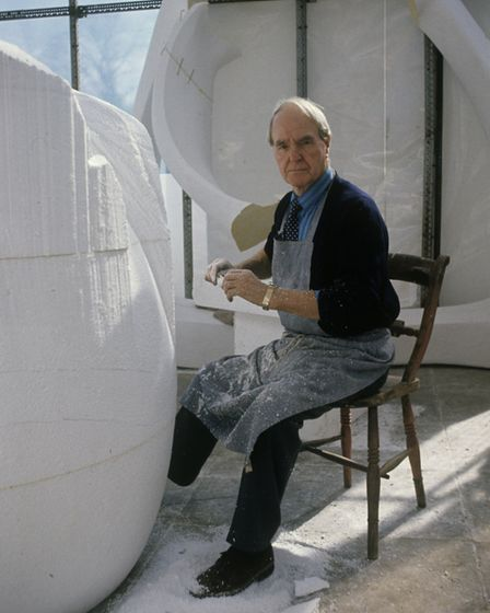 Henry Moore with a plaster version of his two-piece scultpure, Knife Edge, in 1961. Picture: JOHN HE