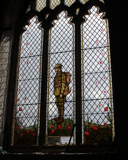 The First World War memorial stained-glass window after its installation at All Saints Church in Sh