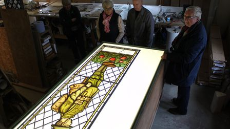 The First World War memorial stained-glass windown on display before its installation at All Saints