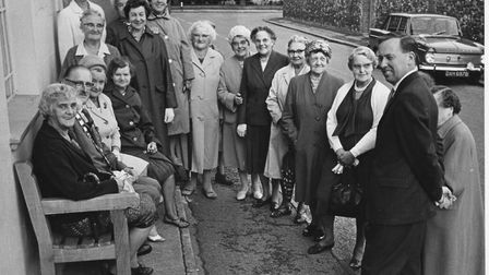 The presentation of a bench outside the Library in Station Road in 1966. Pictures: Wells WI