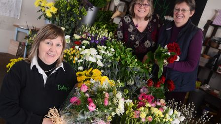 Dereham and District Flower Club when it celebrated its 40th anniversary. Pictured are (from left) L