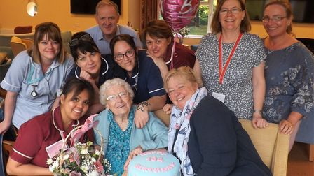 Gladys Dodsworth, who lives at residential care home Eckling Grange in Dereham, has celebrated turni