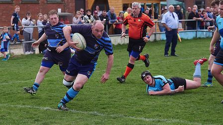 Fakenham''s Rob Ward crossing the line for his try against Woodbridge Picture: MIKE WYATT